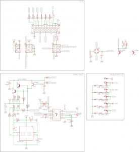 The PSU schematic so far. +24VDC rail is completely reversed out, and starting to work on the +/-12V supply.