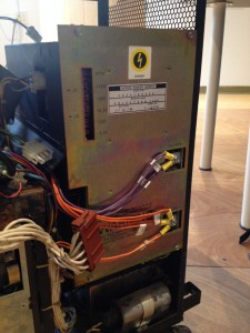 The PSU installed in the system. The red connector is all the transformer taps, and the screw terminals are the high-current +5V.