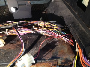 Part of the wiring harness before removing it from the chassis.